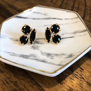 EUC Kate Spade Statement Stud Earrings Black/Gold